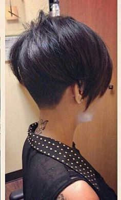 Very Short Dark Asymmetrical Bob, I'd love to try a hairstyle like this someday!! Maybe put some pink in the long side bang :)