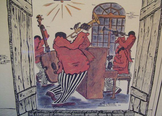 vintage 1977 signed luttrell art print le vieux carre