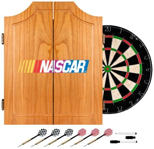 TG NASCAR Beveled Wood Dart Cabinet Set, Regulation Sized by TG. $89.99. Bring the game to your game room, garage or collection with an officially licensed NASCAR beveled wood dart cabinet. Enjoy competition among friends while pre-gaming, during halftime, or at the after party . The officially licensed NASCAR beveled wood dart cabinet comes with everything you need for a great game. It includes a high quality, self healing sisal fiber dartboard, six steel tipped dart...