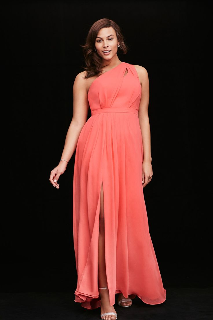 Cute in coral! This long one shoulder coral chiffon bridesmaid dress by David's Bridal is perfect for your bright bridesmaids!
