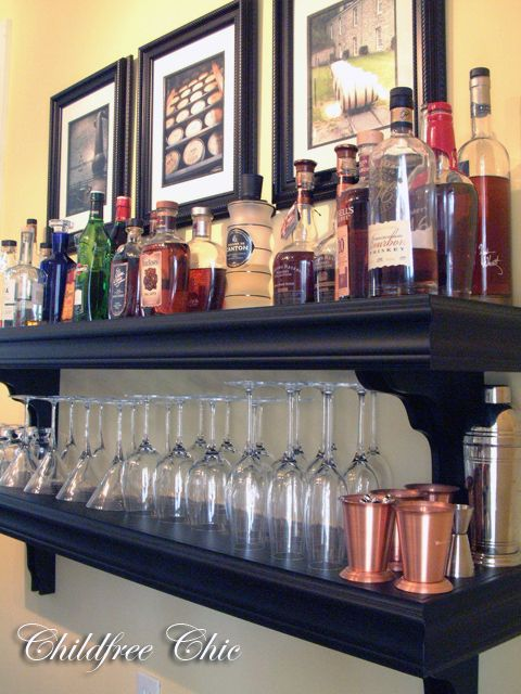 Create a makeshift bar by putting your liquor and cocktail supplies on shelves. | 52 Meticulous Organizing Tips To Rein In The Chaos