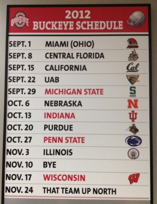 2012 Ohio State Football Schedule