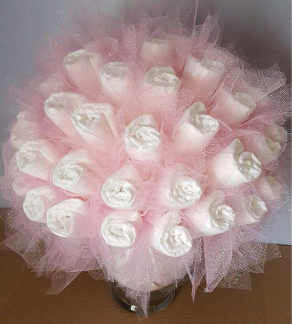 Diaper bouquet  baby shower centerpiece  baby shower gift