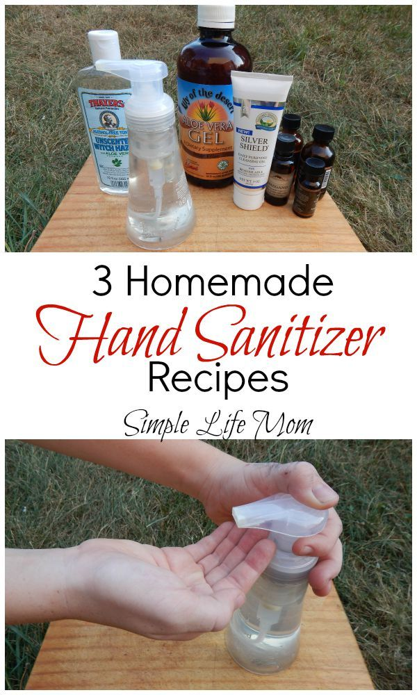 3 Homemade Hand Sanitizer Recipes. Natural, healthy and easy to make. Ingredients like essential oils, aloe vera gel, witch hazel, and colloidal silver.