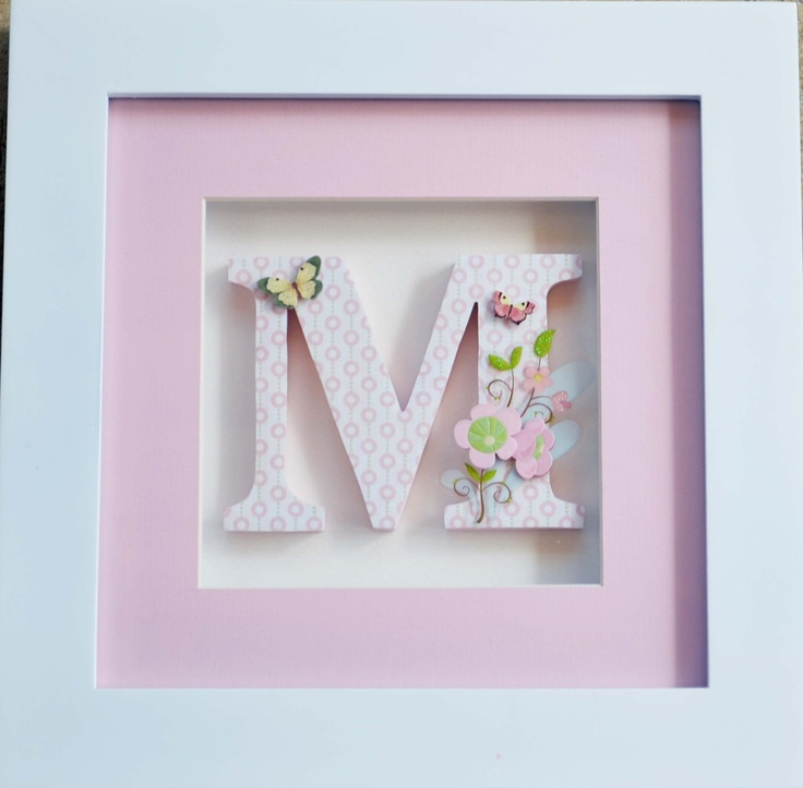 One Individually Framed Childrens Letter  - Pink Butterflies and Flowers (Any theme and color scheme).