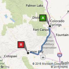colorado springs to canon city co - 1 hr 1 min 48.2 mi