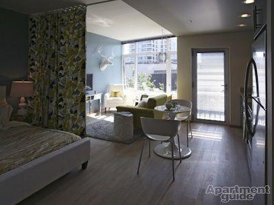 Agencement studio où les rideaux séparent le salon de la chambre. Si vous avez un tissu en tête, c'est une excellente solution pour fabriquer une cloison. ;)