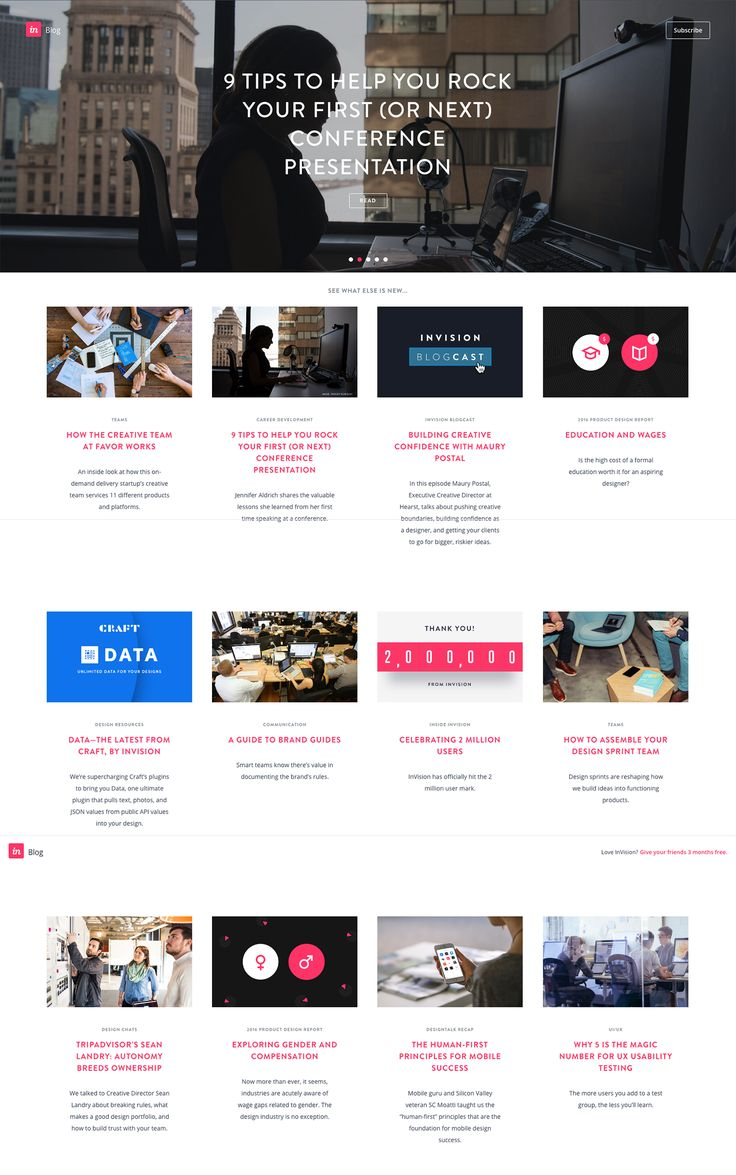 Invision blog - Nice consistent feel to the images creates a strong brand feel. Limited colour palette on graphics.  http://blog.invisionapp.com/