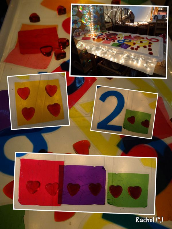 """Laminated sweet papers and cellophane numbers on the homemade lightbox - from Rachel ("""",)"""
