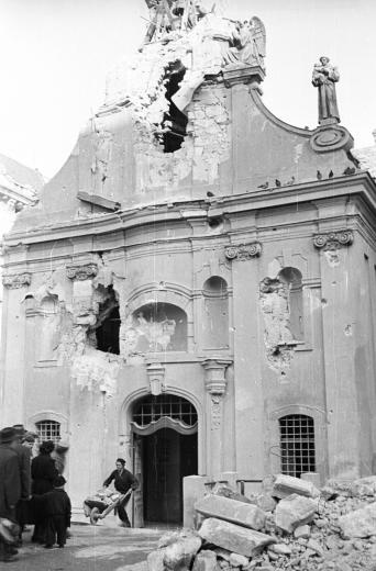 A Budapest church in ruins # Hungarian Revolution 1956