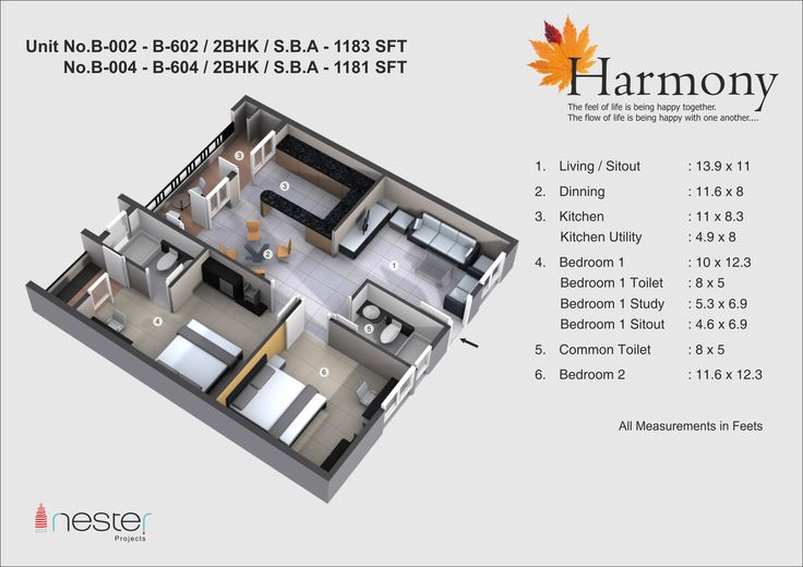Our projects having 3 Option for every flat type. This is the 3D Model of 2bhk of 1183SFT.