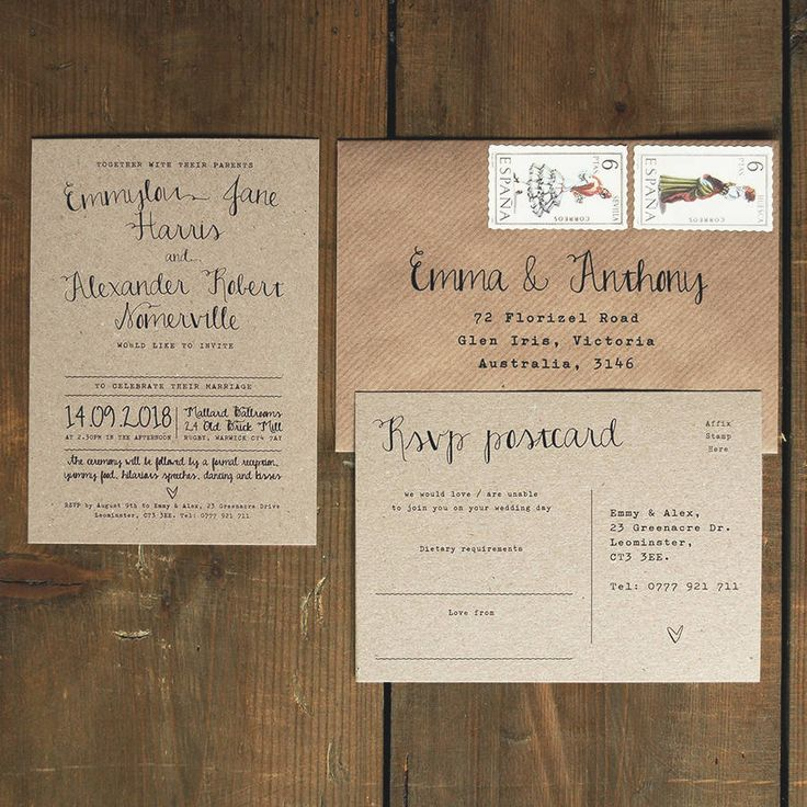 Personalised calligraphy wedding invitation on brown kraft card. A unique British design featuring hand-lettering on recycled card. Rustic & Vintage eco card is 100% recycled.Ordering: Once you have ordered - please send us all your wording via the messaging system, and we will produce some drafts for your review. We can then pass these back and forth, until you are 100% happy to proceed to print This design is available as Day Invitations, Evening Invitations, Information Cards, RSVP, S...