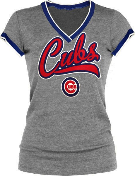 Chicago Cubs Women's Ribbed V-Neck Shirt by 5th & Ocean   Sports World Chicago $34.95  @Leslie Mallman Cubs #ChicagoCubs