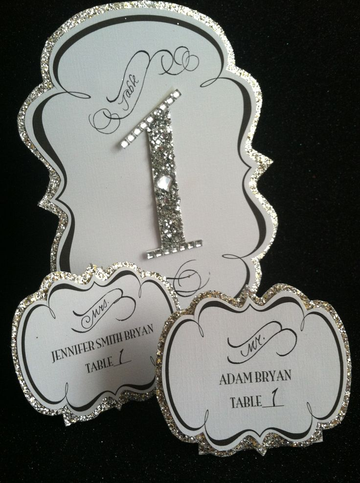 silver heart wedding place card holders%0A Glamorous table number and place cards  Beaded wedding table numbers   HANDMADE with glitter and