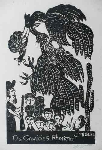 J. Miguel Xilogravura Cordel Arte Primitiva Naif Brasileira