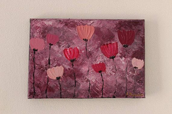 Pink poppies painting Flowers painting Flower painting