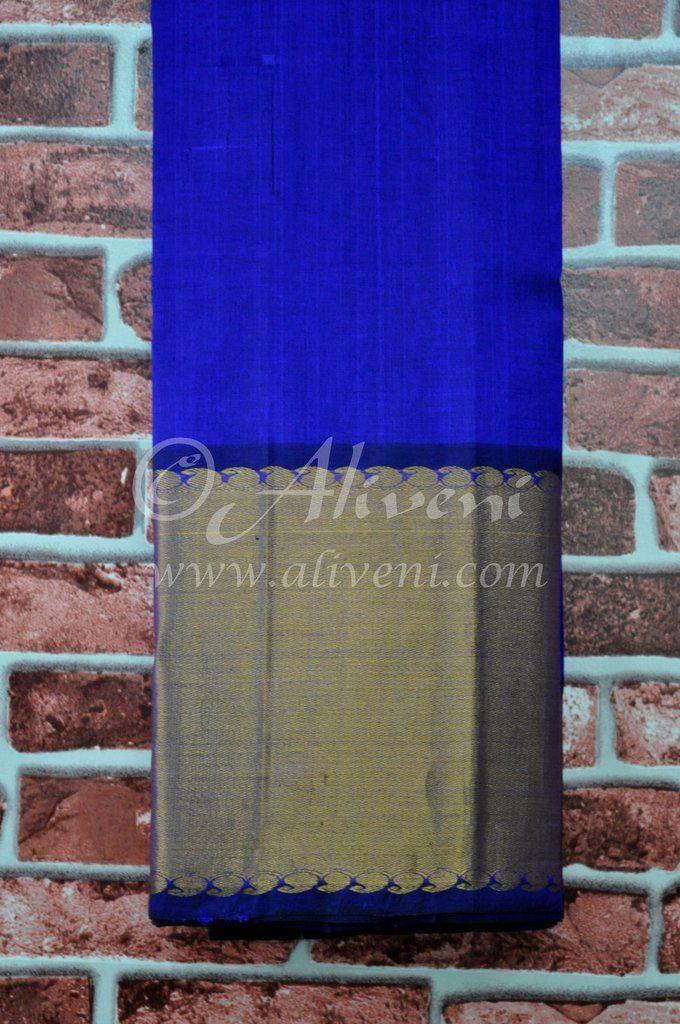 Dark Indigo Blue Plain Handloom Saree with Broad Zari Border