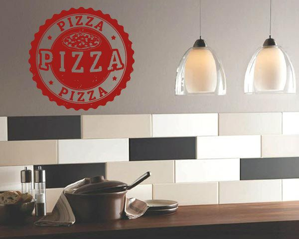 wall vinyl sticker decals mural room design pattern pizza slice stamp food bo1361 - Wall Vinyl Designs
