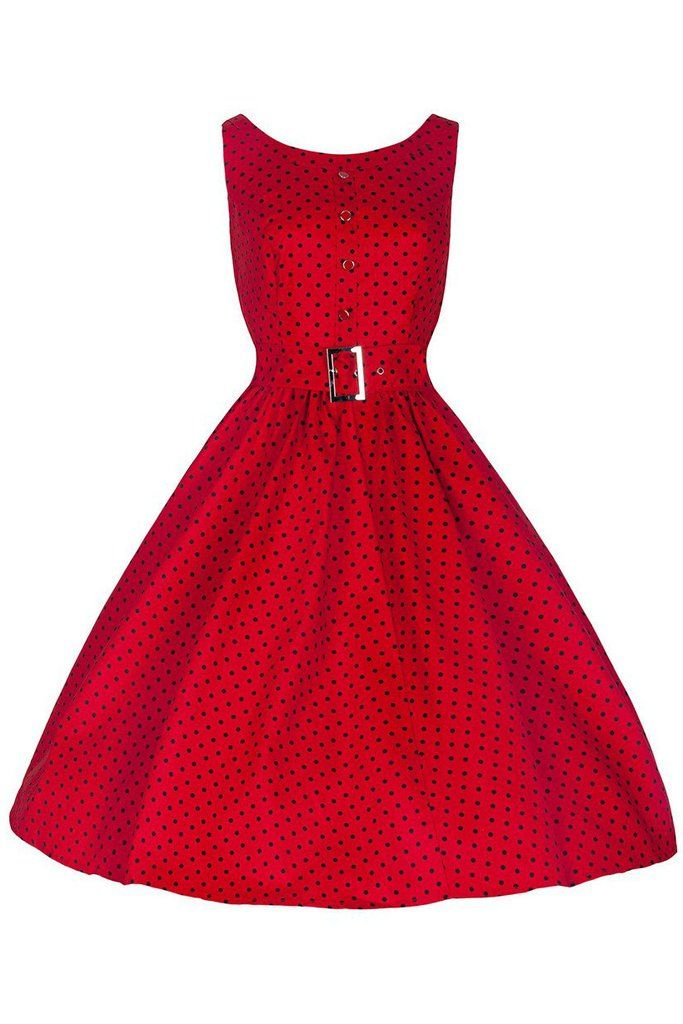 Red and Black Polka Dot Audrey Swing Dress