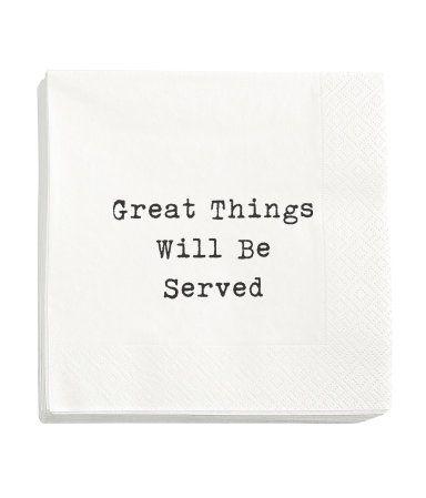 Paper napkins   White/Text   Home   H&M AU