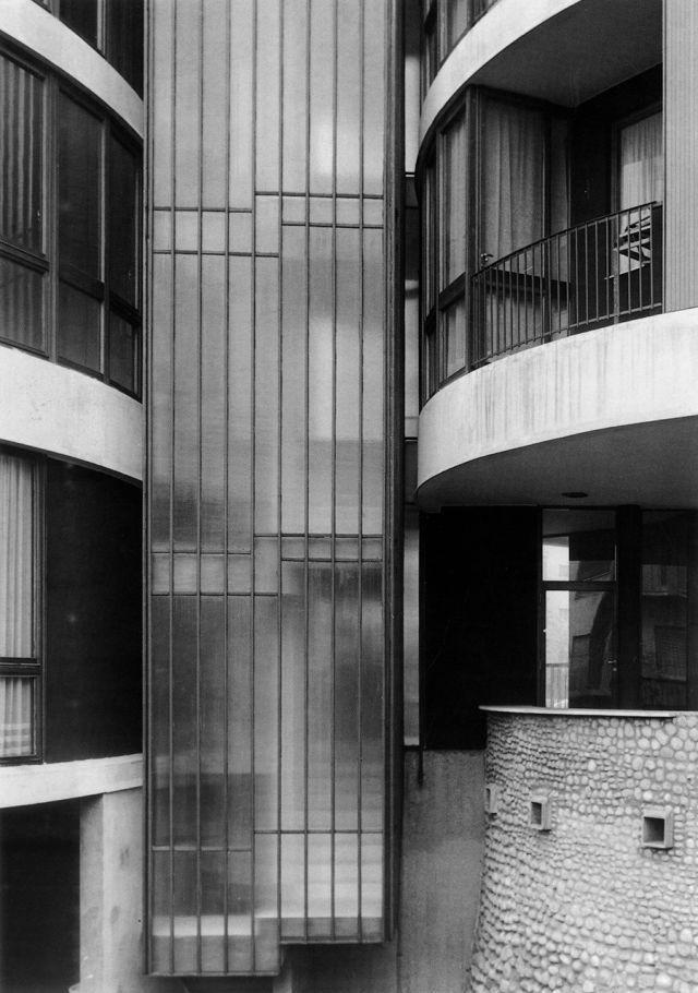 "Apartment building at Via GavirateMilan, Lombardy, Italy; 1959-62 Angelo Mangiarotti, Bruno Morassutti, Aldo Favini see map | + architect | information 1, 2, 3 via ""Angelo Mangiarotti: opera completa"", François Burkhardt; Motta Architettura, Milan (2010)"