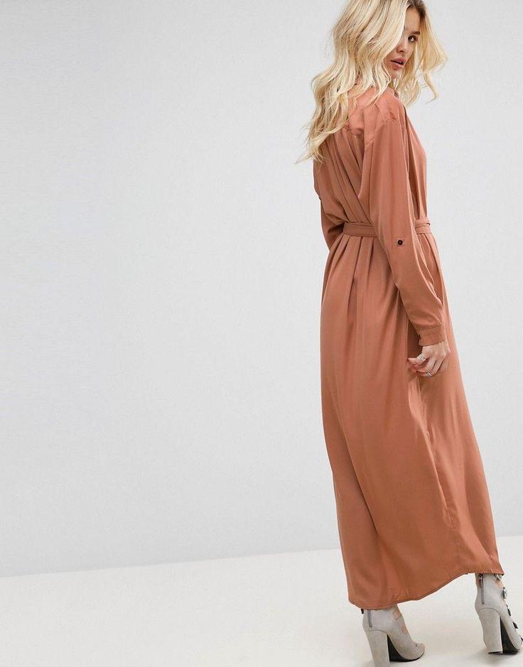 None The Richer Jagger Silk Blend Maxi Shirt Dress - Pink