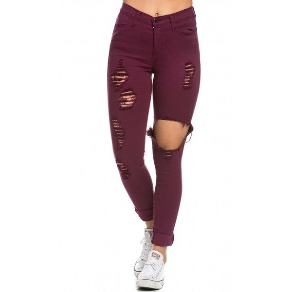 High Waisted Distressed Skinny Jeans in Burgundy ($45) ❤ liked on Polyvore featuring jeans, pants, bottoms, legs, ripped jeans, distressed skinny jeans, purple skinny jeans, skinny jeans and destroyed skinny jeans