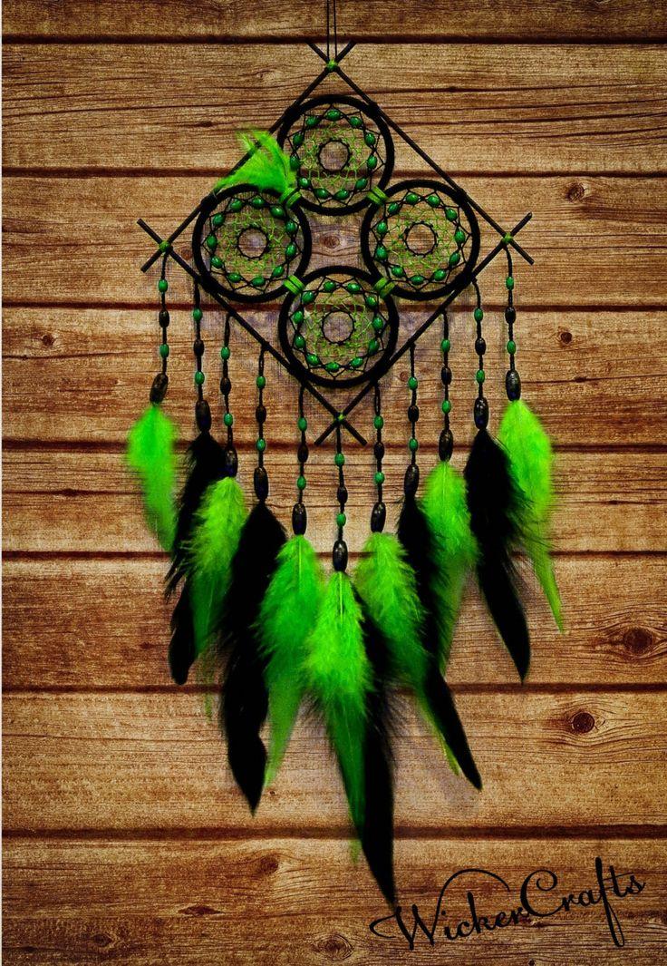 "Medium dreamcatcher green dream catcher black dreamcatcher wood beads unususal extraordinary Dreamcatcher ""Cherokee""  Dreamcatcher Amulet talisman rusteam green black indian crazyadsteam 40.00 USD #goriani"