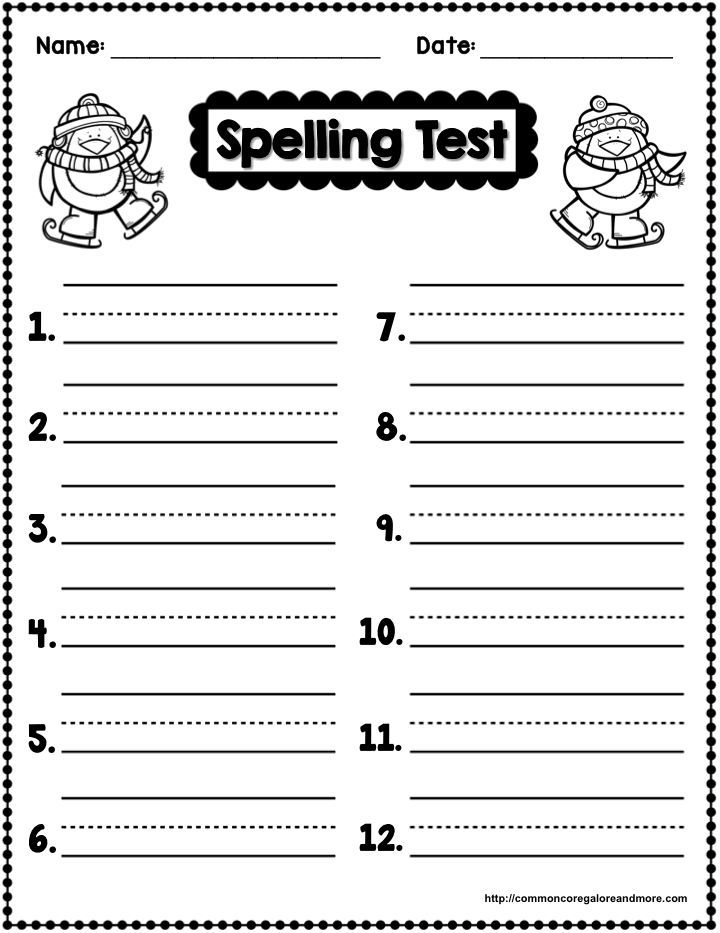 Spelling Worksheets To Print : Freebie winter themed spelling test template