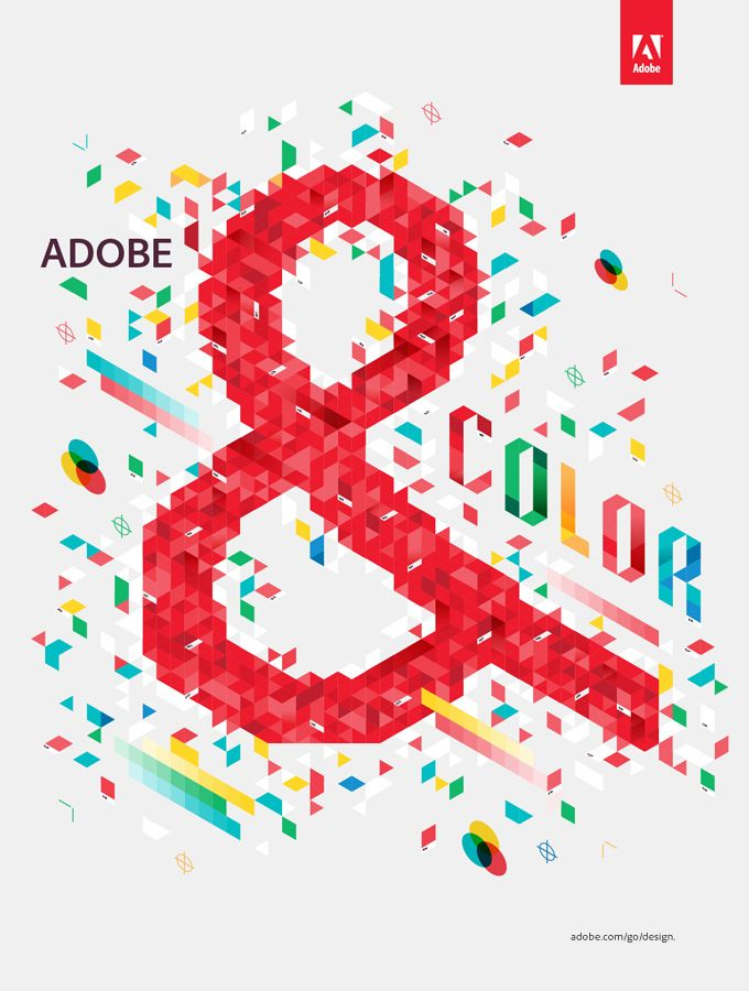 """""""To promote the launch of Adobe's new Creative Suite 5.5 Design Standard, we developed this illustration with the crew at Goodby, Silverstein & Partners. The idea of the campaign is that the latest Adobe edition is the perfect partner for every aspect of the design process. We were given the design aspect of """"Color"""" and thus a visual party of isometric pantone chips and printers marks ensued."""""""