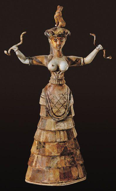 Snake Goddess. Knossos (Crete), Greece. ca. 1600 BCE. Faience. Archaeological Museum, Herakleion.