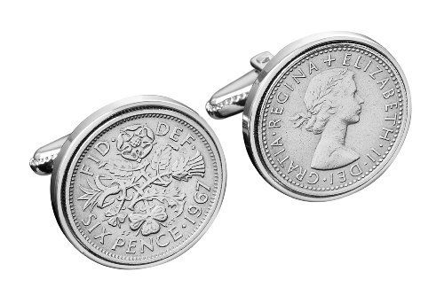 Ideal 60th Birthday Gift -1953 English Sixpence Cufflinks in silver gift box by Birthday Cufflinks, http://www.amazon.co.uk/dp/B00BHLD6X4/ref=cm_sw_r_pi_dp_2Lnmsb0F90D2X