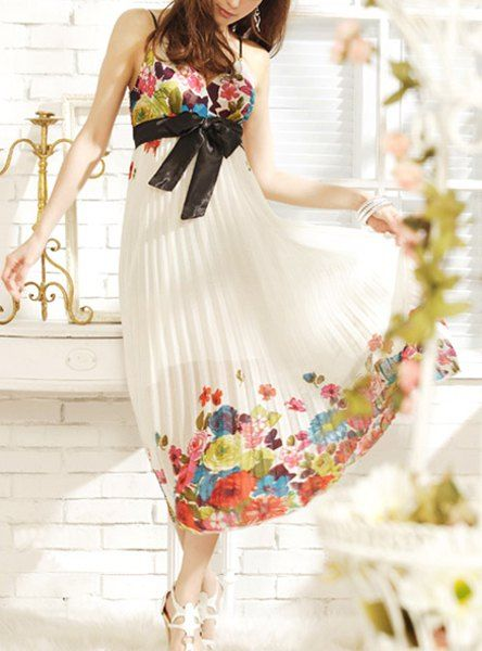 Floral Print Spaghetti Straps Bow Tie Plicated Ladylike Dress For Women - Bridesmaid Dresses