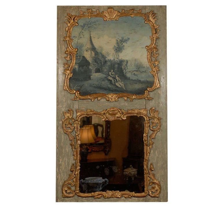 19th Century Trumeau Mirror with Grisaille Painting, France | From a unique collection of antique and modern trumeau mirrors at https://www.1stdibs.com/furniture/mirrors/trumeau-mirrors/