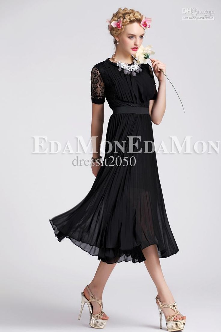 Sexy Black Sleeve Tea-Length Casual Dresses Work OL Column ...