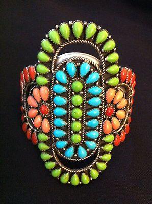 Vintage J W Toadlena Multi-Stone Cuff Bracelet