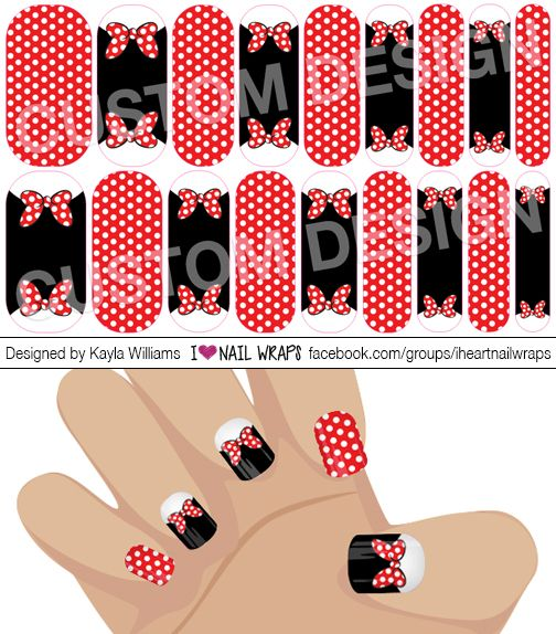 Disney Minnie Mouse inspired Jamberry NAS Nail Wrap Design. Why bother with nail art designs and polish when Jamberry nail wraps are so much easier? Get the pretty nails you've always wanted for a fraction of the cost of a salon visit. #iheartnailwraps #nailart #naildesigns #jamberry #jamicure #nails #disney #minniemouse