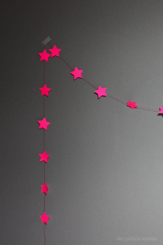 pink neon stars garland