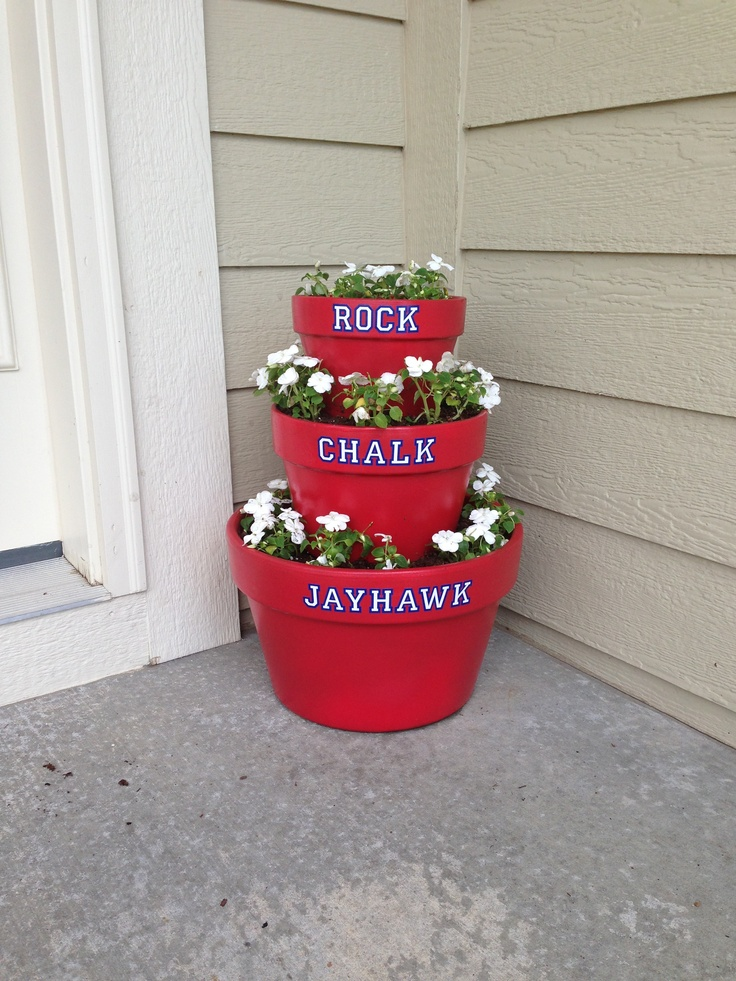 My Pinterest inspired stacking pots! Finished in time to decorate the porch for my cousin's graduation from KU! Rock Chalk!
