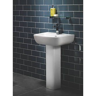Moretti Basin-to-Go Compact Full Pedestal Bathroom Basin 1 Tap Hole 550mm | Bathroom Sinks | Screwfix.com