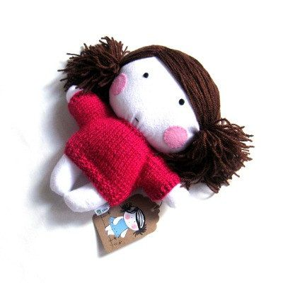 "Handmade rag doll stuffed toy baby girl plushie softie white pink hand knitted dress sweater cuddly soft child friendly 10"" 25 cm"