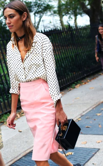 Brit it girl Alexa looks uber chic in pink. Get her look with our #TTYA4LTS Metallic pencil skirt.