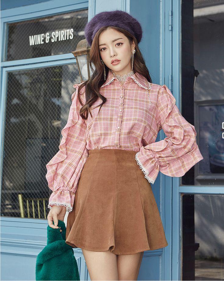 Check Frilled Blouse CHLO.D.MANON | #pink #cute #ruffle #check #blouse #datelook #koreanfashion #kstyle #kfashion #falltrend