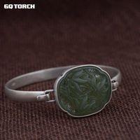 Браслеты стерлингового серебра 925 китайский Бамбука Jade браслет Openable Винтаж Дизайн драгоценных камней Браслеты на запястье