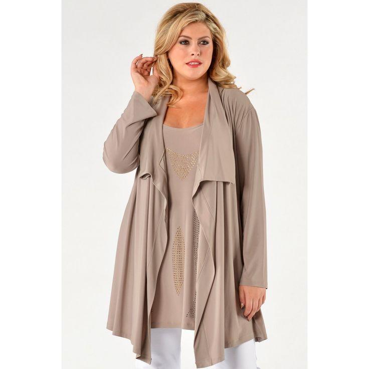Cardigan collar DOLCE stone - Yoek Grote maten mode - Plus size fashion www.signiagrotematen.nl