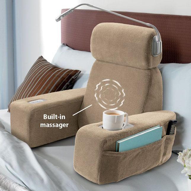 Nap Massaging Bed Rest ($100): With ample storage, a cup holder, a book light and a built-in massager.