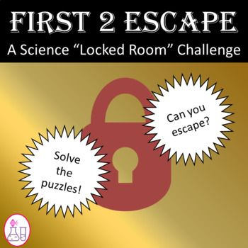"""Be the FIRST 2 ESCAPE in this """"Escape Room"""" challenge.  Students will need great critical thinking skills in order to solve a variety of clues, riddles, and puzzles.  Who will be the first group to unlock the classroom door?Students should know...1)  How to use the periodic table to find atomic # and element symbols2)  Key vocab words (such as):  Ion, isotope, kilogram, colloids, compounds, density3)  Engineering skills (to build a catapult)Teachers should have the following supplies for…"""