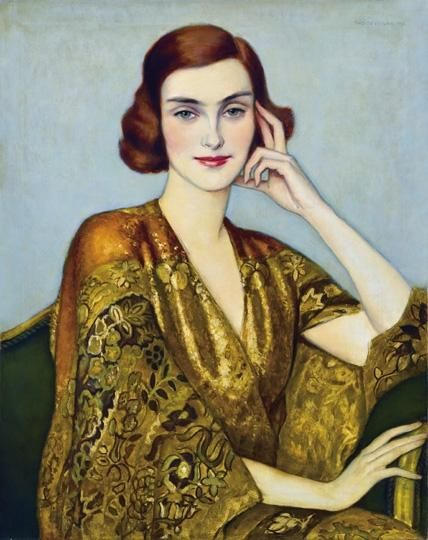 Istvan Zador (Hungarian, 1882-1963) : Lady in a golden silk kimono, 1932.