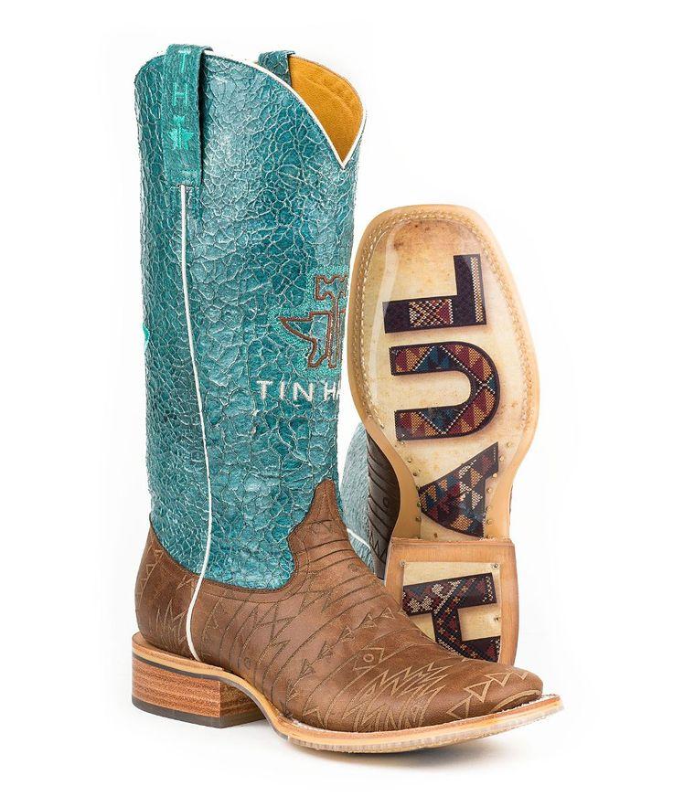 Brown & Teal Aztek Leather Cowboy Boot - Women