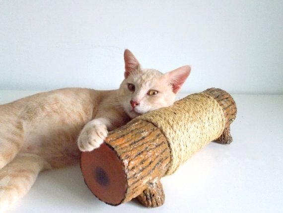 JUST LOVE THE POSE, LOL!!! Cat Scratching Log  Horizontal scratching post by SAYSCULPTURES, $32.00